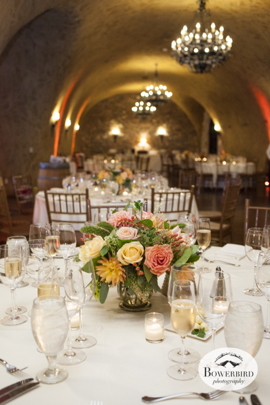 The wedding reception in the Meritage wine cave in Napa Valley. © Bowerbird Photography 2014