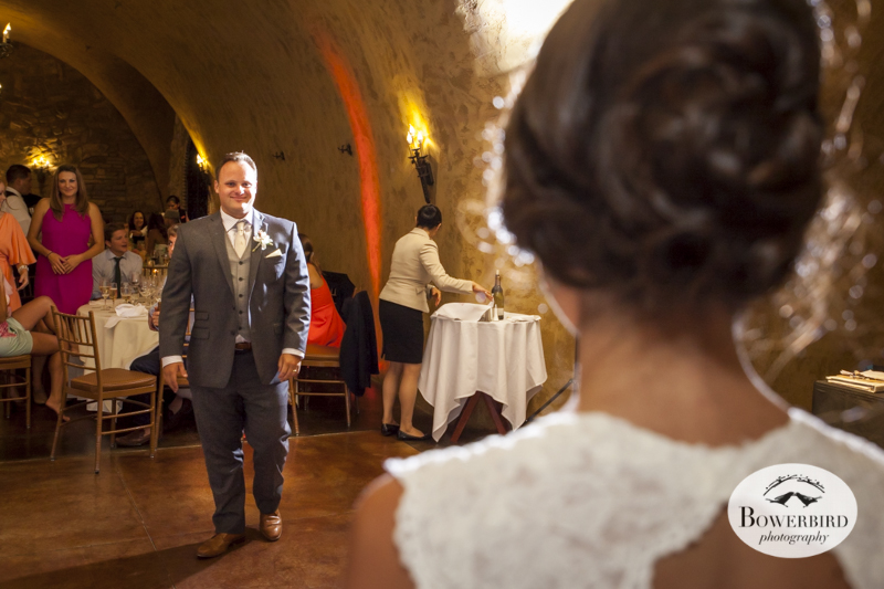 First dance! Meritage resort and spa wedding reception in tasting room. © Bowerbird Photography 2014