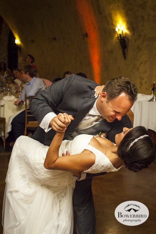 Dip!Meritage resort and spa wedding reception in tasting room. © Bowerbird Photography 2014