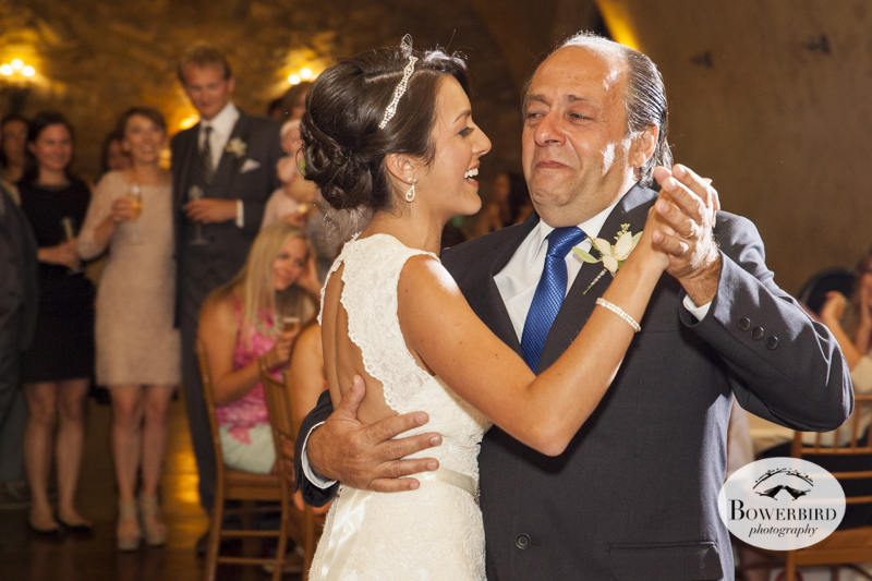 Father-daughter dance.Meritage resort and spa wedding reception in tasting room. © Bowerbird Photography 2014