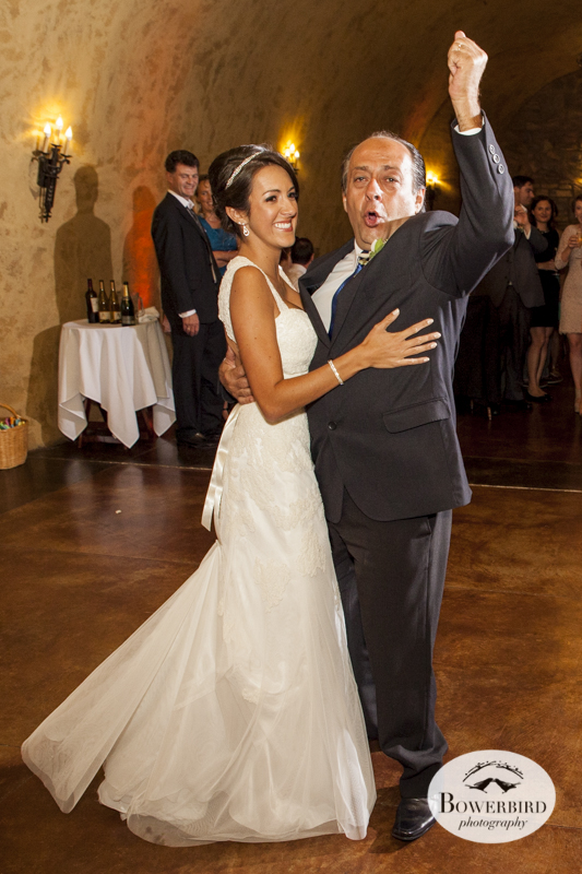 Father-daughter dance. Meritage resort and spa wedding reception in tasting room. © Bowerbird Photography 2014