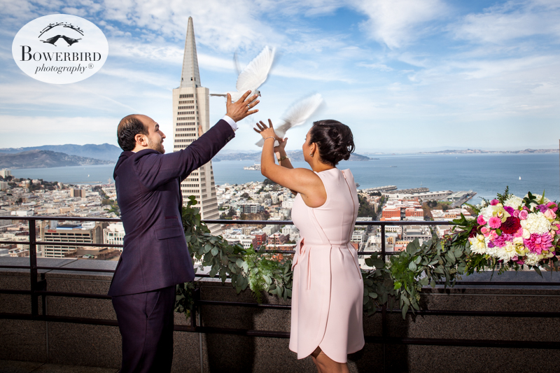 Wedding Dove Release from the skydeck. San Francisco Wedding Photography at Loews Regency Hotel. © Bowerbird Photography 2015