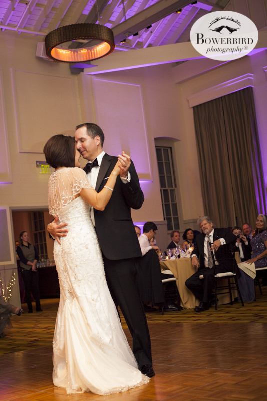 Sweet first dance. Their faces are nuzzled so close! Wedding Photography at Cavallo Point Lodge in Sausalito. © Bowerbird Photography 2015
