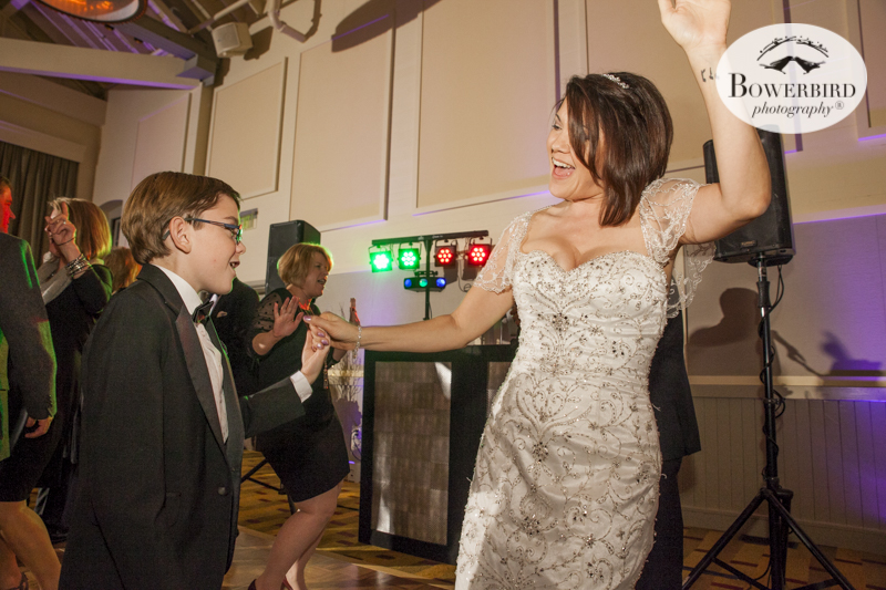 Bride and son have a swing at dancing. Cavallo Point Lodge Reception. © Bowerbird Photography 2015
