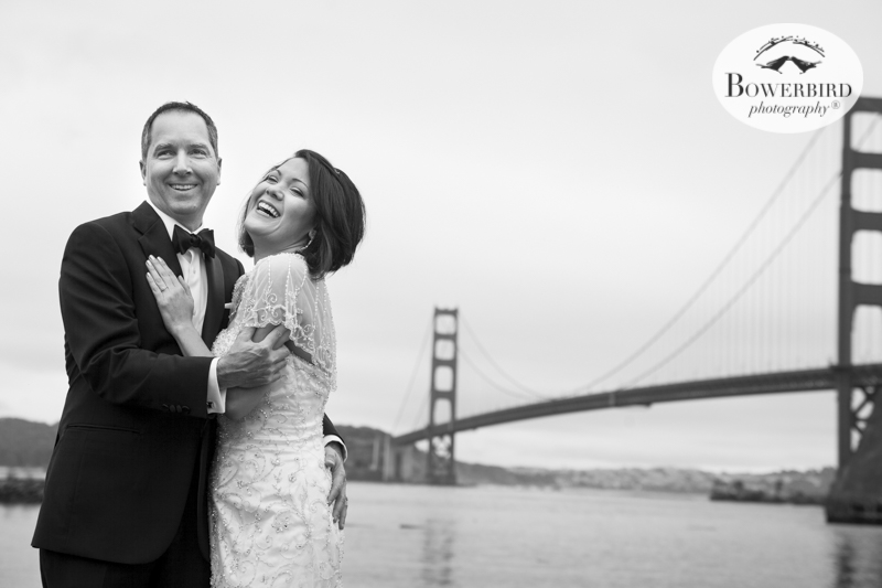 Classic look for wedding photos in front of the Golden Gate Bridge at Cavallo Point Lodge in Sausalito. © Bowerbird Photography 2015