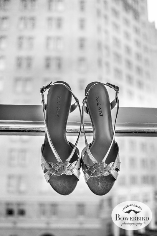 Fairmont Hotel Wedding in San Francisco. The bride's wedding shoes. © Bowerbird Photography 2016