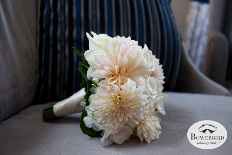 Fairmont Hotel Wedding in San Francisco. Bridal bouquet with blush pink dahlia flowers and white roses. © Bowerbird Photography 2016