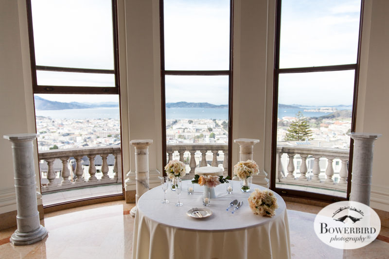 James Leary Flood Mansion Wedding in San Francisco. Amazing view of the San Francisco Bay from the wedding reception hall. © Bowerbird Photography 2016
