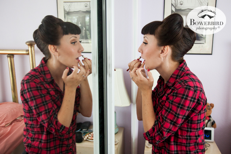 Los Angeles Destination Wedding Photography. The bride putting on her lipstick. © Bowerbird Photography 2016