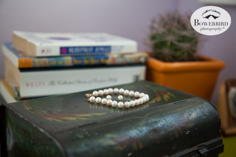 Los Angeles Destination Wedding Photography. The bride's pearl jewelry. © Bowerbird Photography 2016