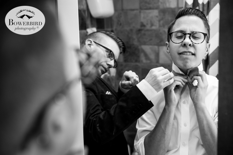 Los Angeles Destination Wedding Photography. The groom putting on his bow tie. © Bowerbird Photography 2016