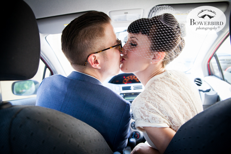 Los Angeles Destination Wedding Photography. So LA - the bride and groom driving around together! © Bowerbird Photography 2016