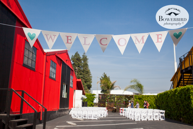 Los Angeles Destination Wedding Photography. The wedding ceremony site at Golden Road Brewing. © Bowerbird Photography 2016