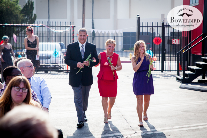 Los Angeles Destination Wedding Photography. Parent's of the bride and groom walking into the ceremony together. © Bowerbird Photography 2016