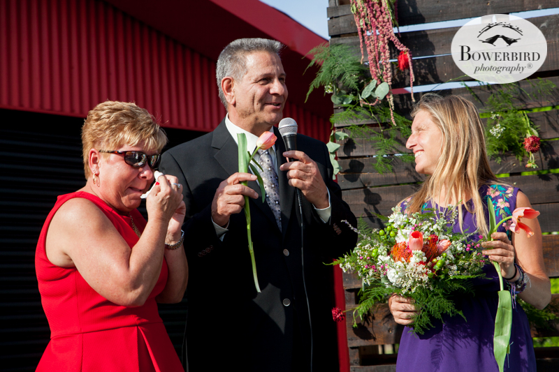 Los Angeles Destination Wedding Photography. The wedding ceremony at Golden Road Brewing. © Bowerbird Photography 2016
