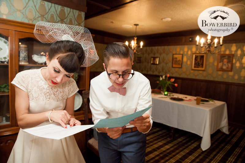 Los Angeles Destination Wedding Photography. Wedding at Golden Road Brewing. The bride and groom signing their marriage license.© Bowerbird Photography 2016