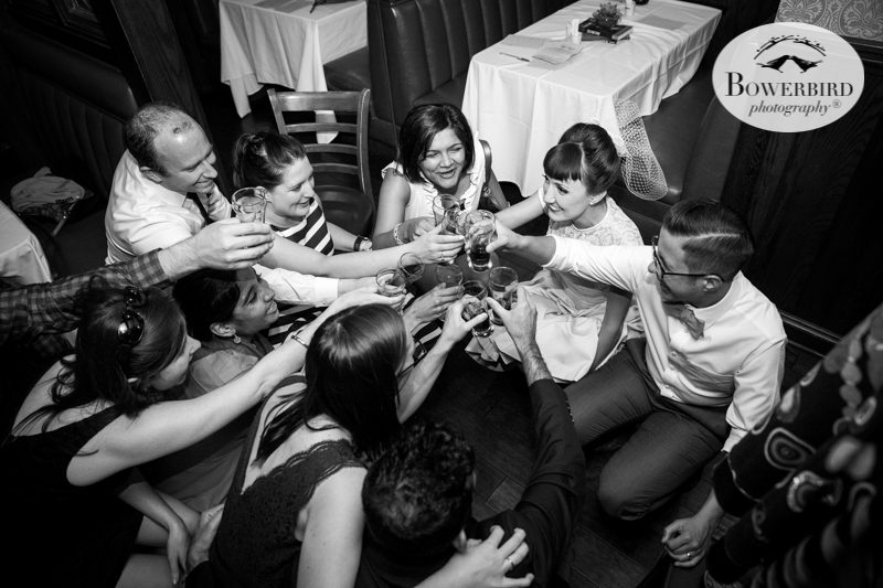 Los Angeles Destination Wedding Photography. Wedding at Golden Road Brewing. Squat wine shots! © Bowerbird Photography 2016