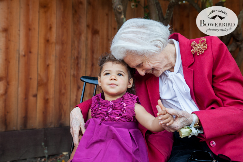 San Francisco Family Photographer. Portrait of grandma and her great grand daughter on her 95th birthday. © Bowerbird Photography 2016