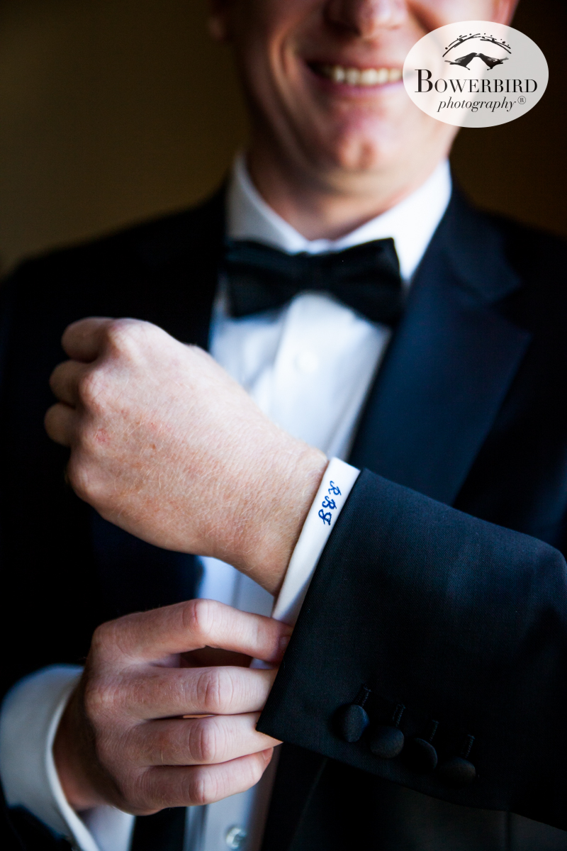 Groom prep featuring crisp monogrammed cuffs. Wedding photos at the Mark Hopkins Hotel, SF. © Bowerbird Photography 2016