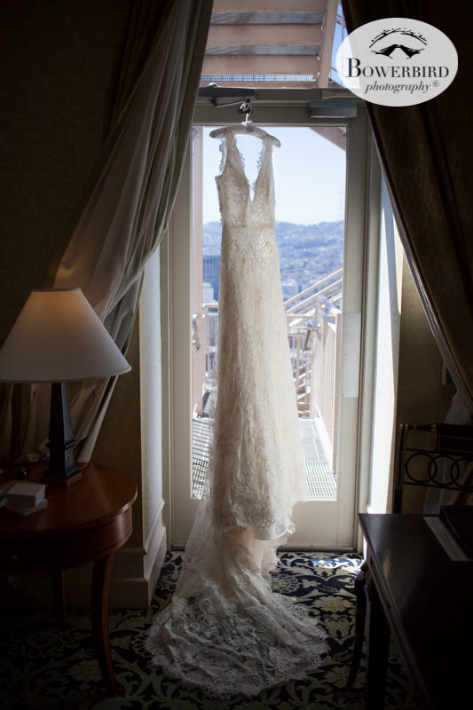 That dress! Mark Hopkins Hotel wedding prep photos. © Bowerbird Photography 2016