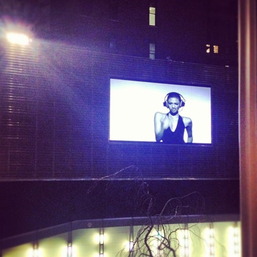 sarahmccolgan: Happy Birthday @onealmcknight! They're playing our video on the side of a building in midtown. (Taken with instagram)