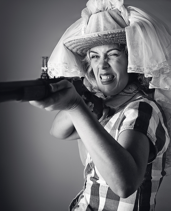 """GUN GIRL"" Promo Image from Off Broadway play ""Home Of The Great Pecan"" 2001 Mamiya RZ67"