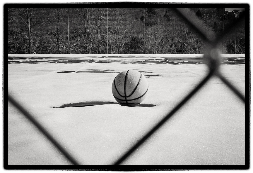Basketball In Snow.