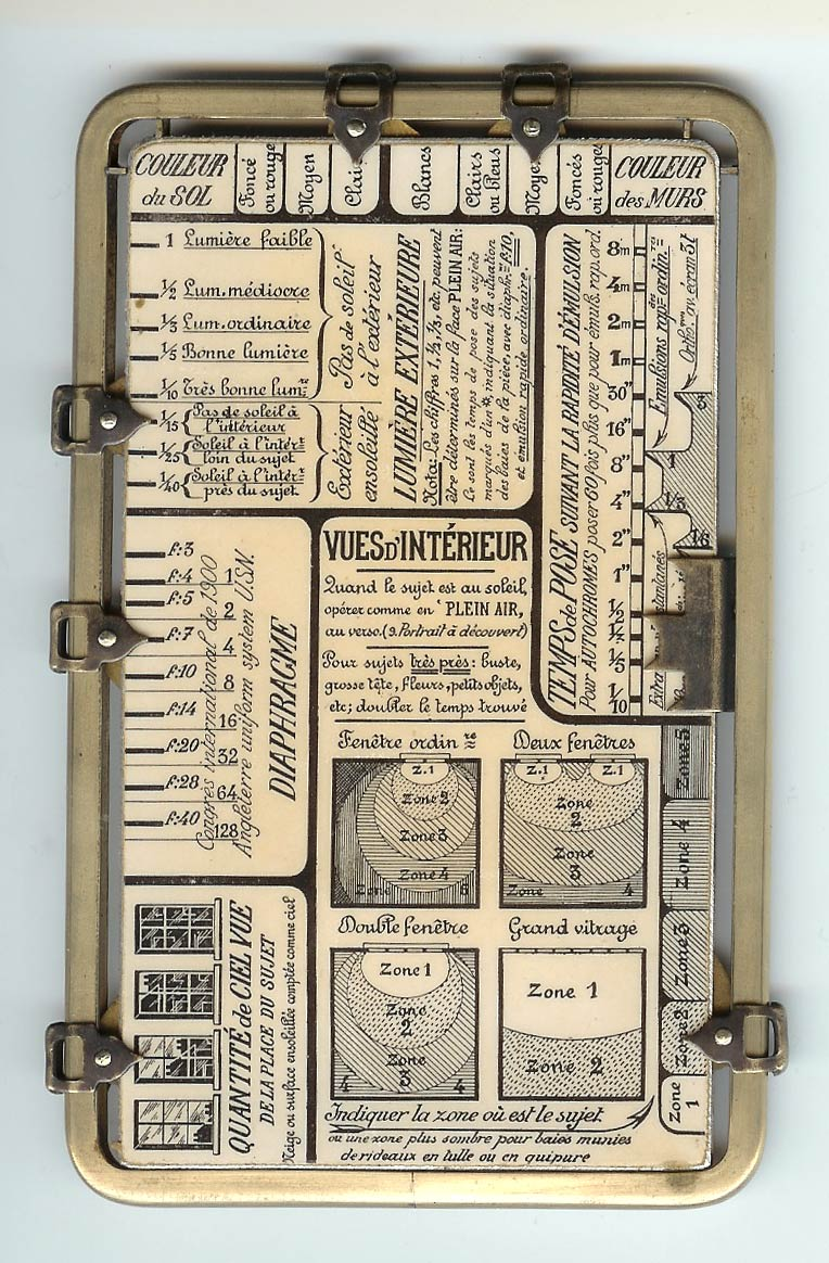 """photojojo: This might be the most amazing light meter we've ever seen. Freakyfaunaexplains: Kaufmann's Posographe. An instrument for calculating aperture and exposure time when taking photographs in any possible situation. For outdoors, it includes settings with values like """"Snowy scene"""", """"Greenery with expanse of water"""", or """"Very narrow old street"""", """"Cloudy and somber"""", """"Blue with white clouds"""", or """"Purest blue"""". A Light Meter-esque Instrument for Any Photo Situation"""