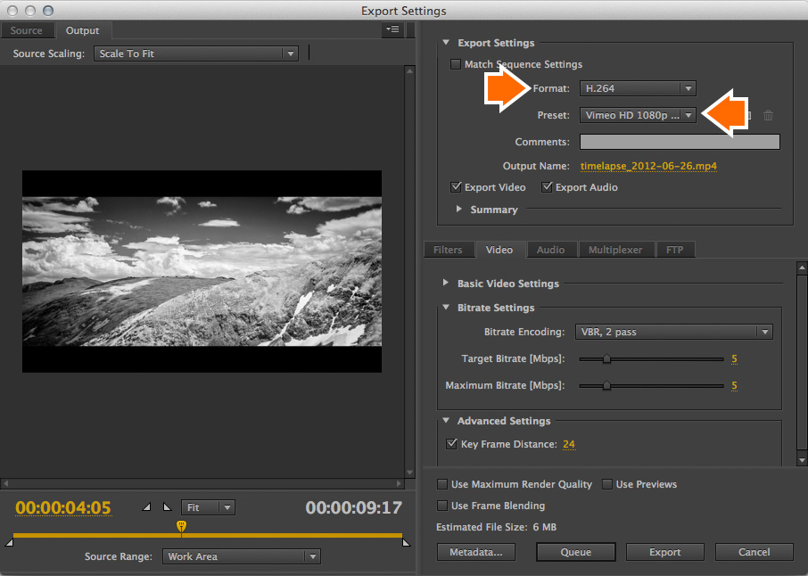Premiere Pro CS6  For Format, choose H.264, then choose an appropriate Vimeo preset.