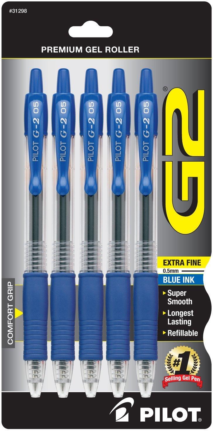 Pilot G2 Ball Pen, Blue Ink, 5-Pack  $11.31