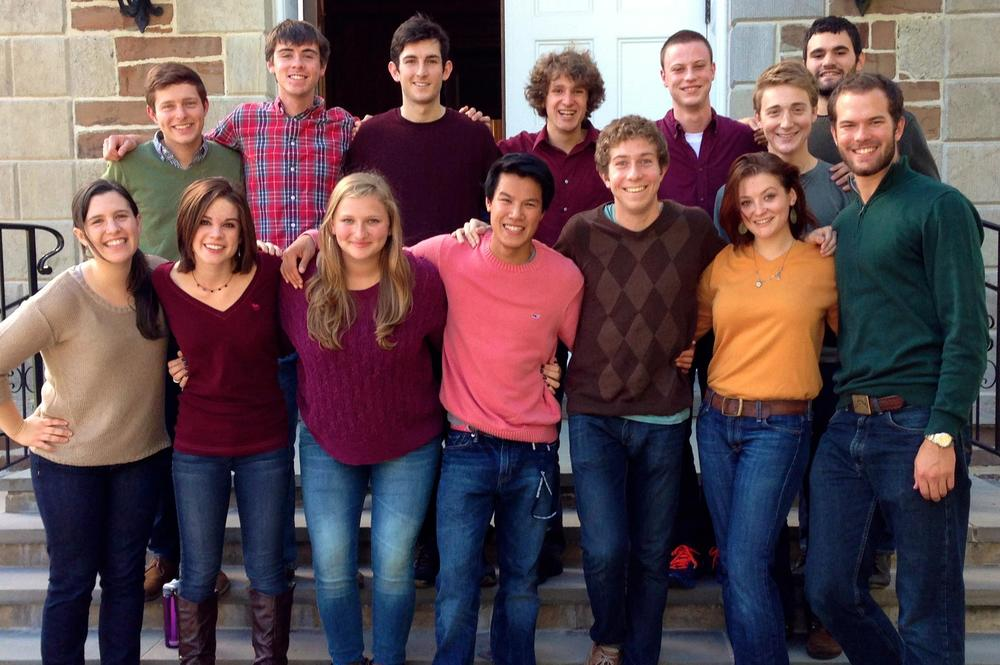 Members of Duelly Noted after the Fallcoming a cappella concert