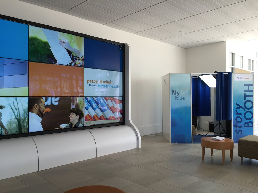 Interactive Touch Wall & Story Booth - BLUECROSS BLUESHIELD OF TENNESSEE:Increasing Employee Engagement and Education with Juncture's Interactive Discover Wall.As Tennessee's largest health benefit plan company and a leader in the industry, BlueCross BlueShield of Tennessee was using a traditional intranet and network of digital displays for employee communications. When BlueCross BlueShield of Tennessee began restructuring its Mission Strategy Goals, they looked for a unique way to engage, educate, and encourage their employees. They reached out to Juncture with three specific goals, make it active, make it informative, and make it fun!