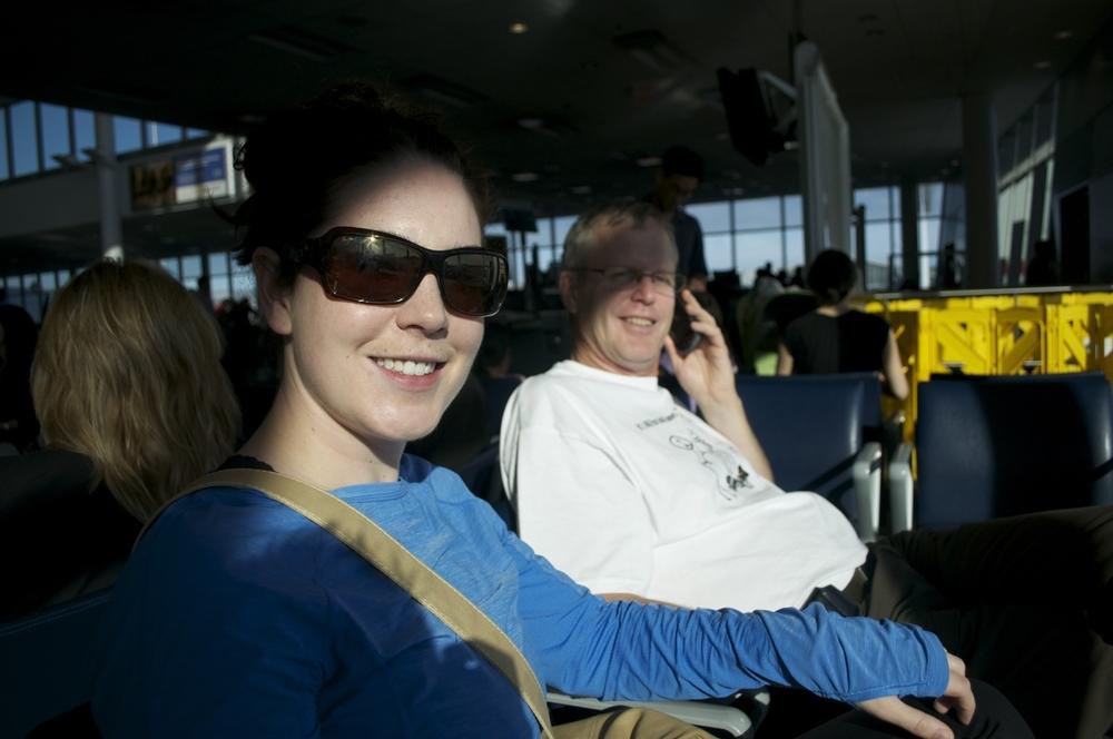 Miranda and Bill waiting for flights at YYZ