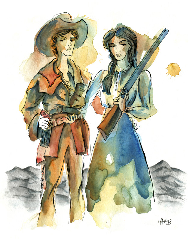 Pioneer Wives - ink and watercolor ©2012
