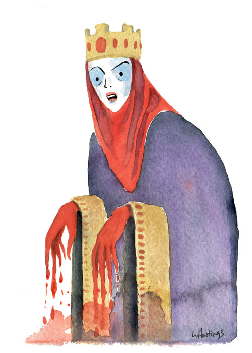 "Lady MacBeth 5"" x 7"" ink & Watercolor 