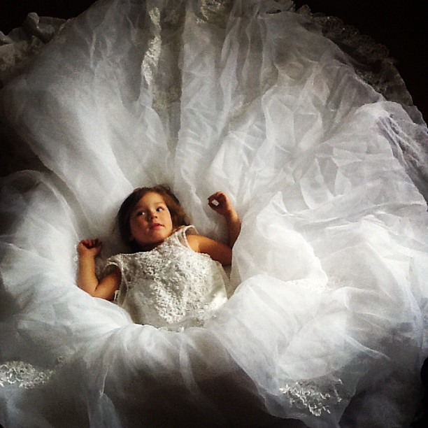 July 2012: Play time in mommy's wedding dress
