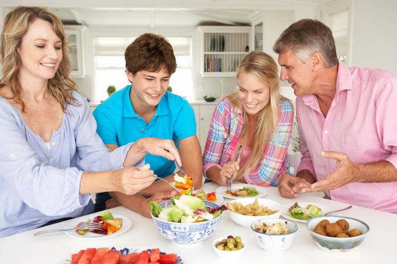 Like us, this family enjoys healthy food, smiling, and clean, clean white walls, bowls and table