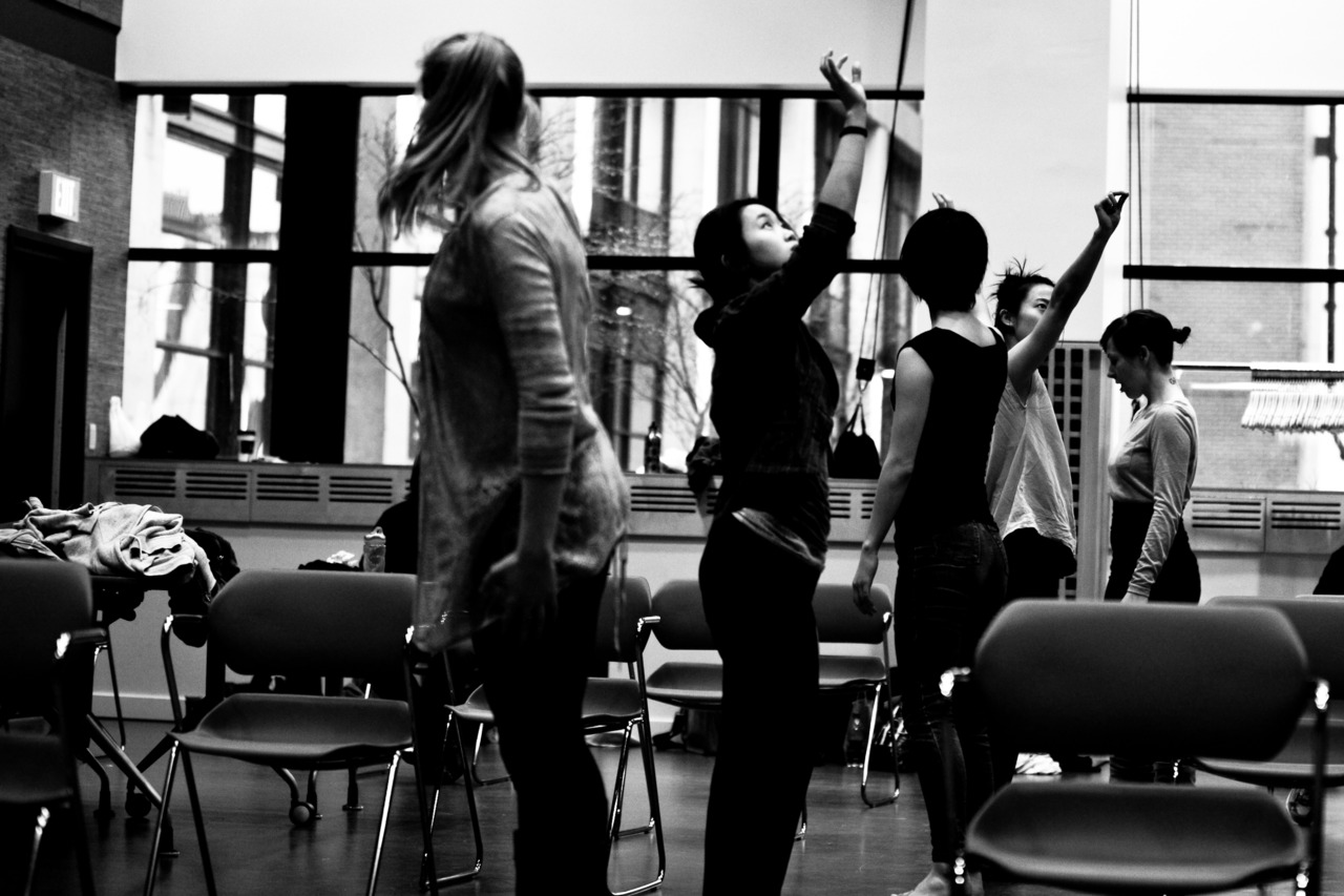 "The whole gang in b/w, rehearsing ""this is fiction!"""