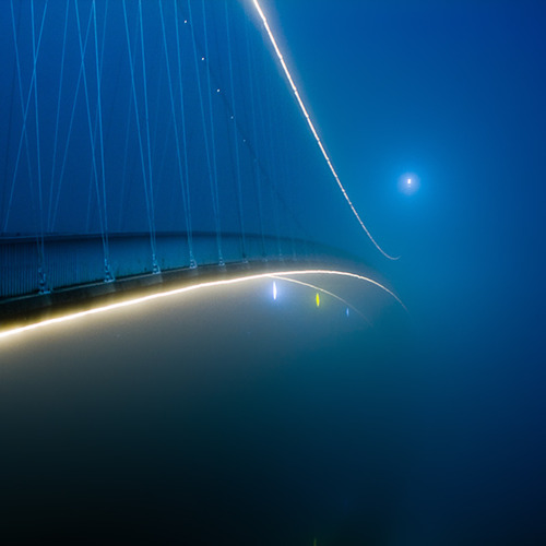 mirrormonster :      Bridge in fog  by  ~oriontrail