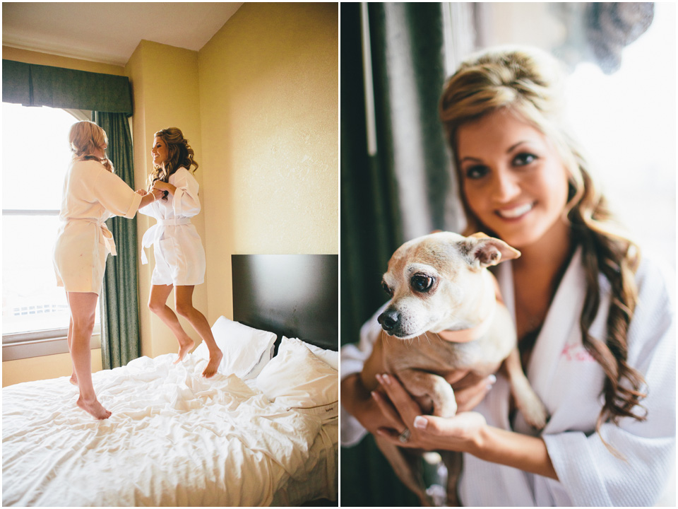 Jumping on the bed before the wedding! - Cleveland Wedding Photographer Windows on the River