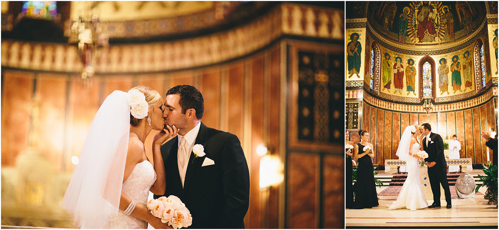 A beautiful kiss! - Creative Cleveland Wedding Photographer - St. James Church