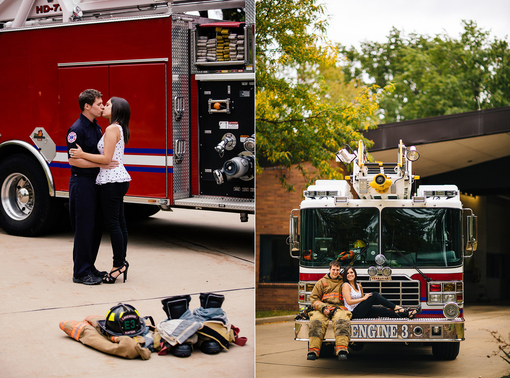 Krista + Kyle a lakewood engagement session at the fire station