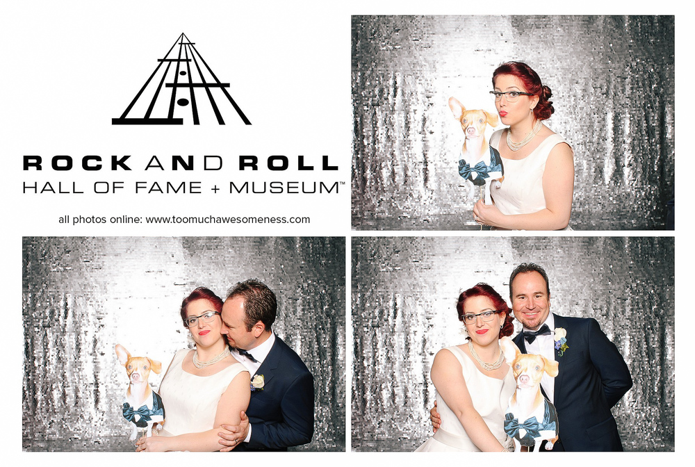 Kelly + Leo photobooth at a rock and roll hall of fame wedding