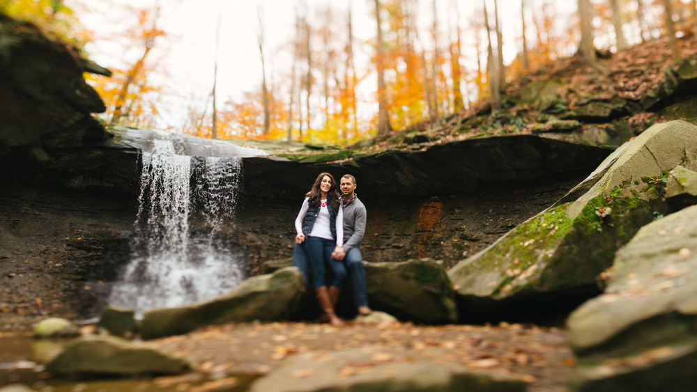 Megan + Josh an engagement session at blue hen falls in the cuyahoga valley national park