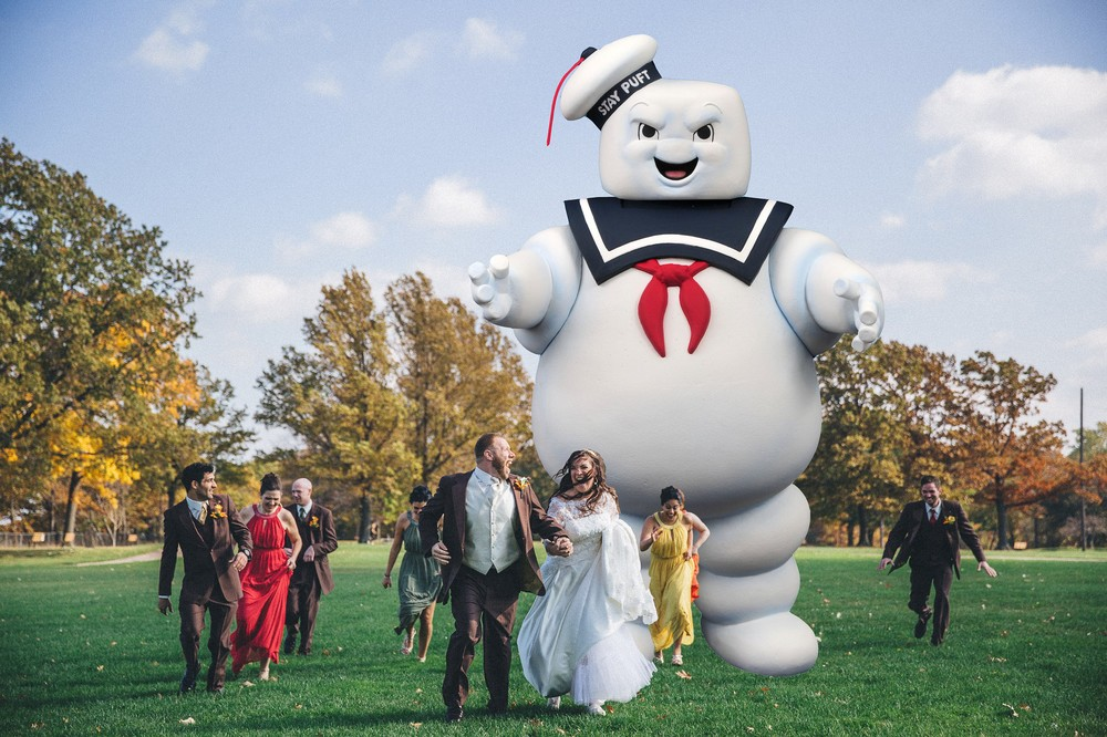 Greek Wedding Photographer in Cleveland 12 Stay Puft Marshmallow Man Ghostbusters Wedding Photo.jpg