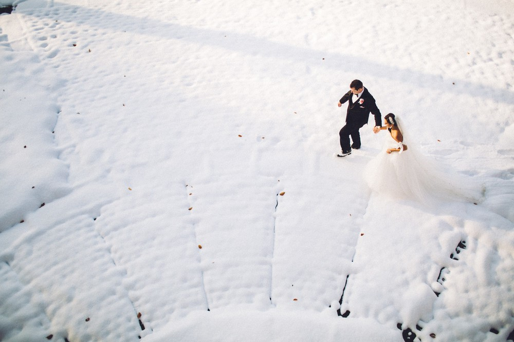 Christina + Mark a winter wedding in cleveland at the marriott key center