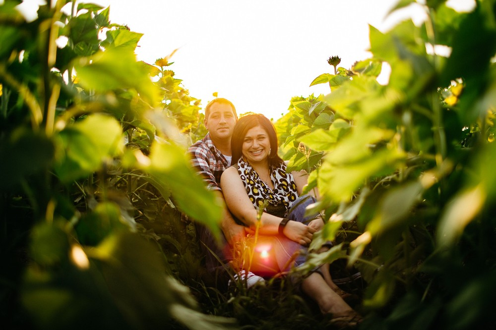 Ally + Tony engagement session at the sunflower field in avon
