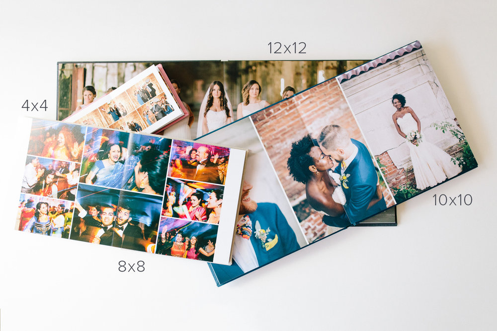 We create a custom design layout, with as many images as necessary to tell the best story for your wedding.