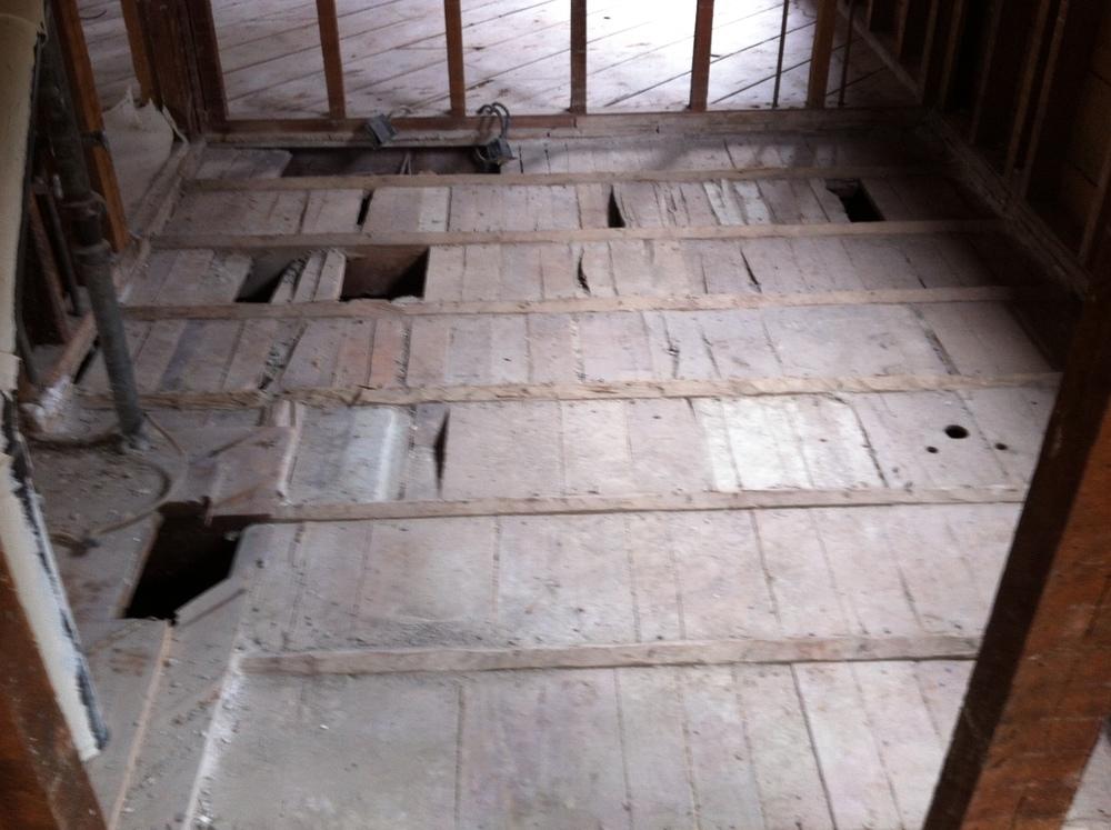 Recessed floor at old bath