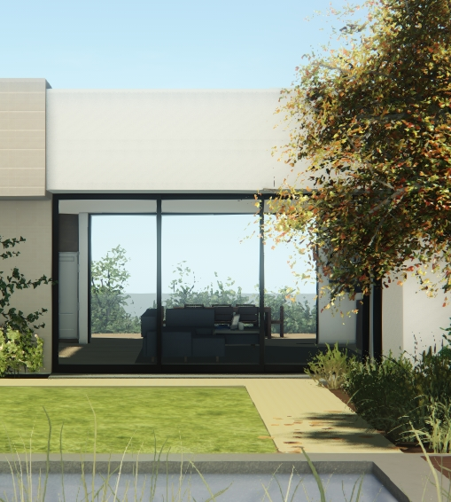 Rendered view from approximately the same position behind the pool.